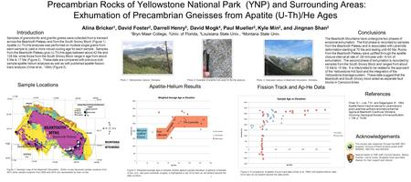 Precambrian Rocks of Yellowstone National Park (YNP) and Surrounding Areas: Exhumation of Precambrian Gneisses from Apatite (U-Th)/He Ages Alina Bricker.