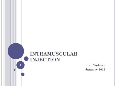 INTRAMUSCULAR INJECTION A. Welman January 2012 1.