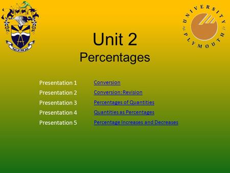 Unit 2 Percentages Presentation 1 Conversion Presentation 2 Conversion: Revision Presentation 3 Percentages of Quantities Presentation 4 Quantities as.