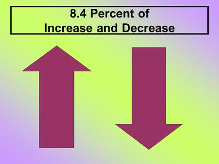 8.4 Percent of Increase and Decrease. Percent change is the ratio of the amount of change to the original amount. Percent increase describes how much.