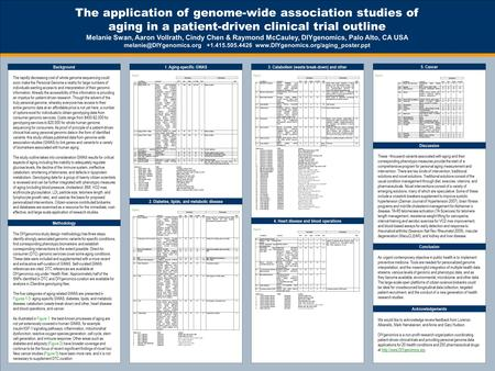 The application of genome-wide association studies of aging in a patient-driven clinical trial outline Melanie Swan, Aaron Vollrath, Cindy Chen & Raymond.