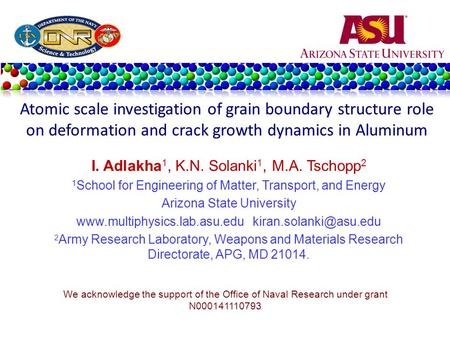 I. Adlakha 1, K.N. Solanki 1, M.A. Tschopp 2 1 School for Engineering of Matter, Transport, and Energy Arizona State University www.multiphysics.lab.asu.edu.