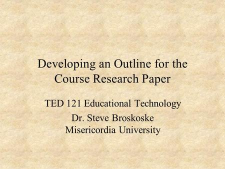 develop research paper outline
