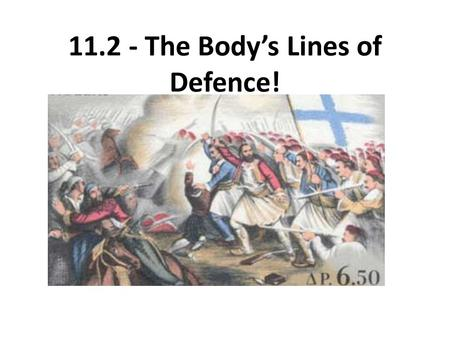 11.2 - The Body's Lines of Defence!. The First Line of Defence:  Primarily physical defence  Includes: - The Skin - Lysozymes (antimicrobial enzymes.