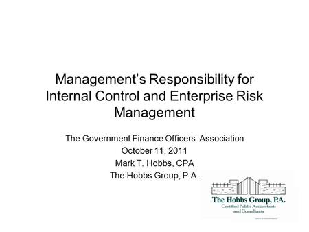 The Government Finance Officers Association