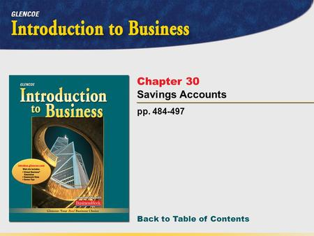 Back to Table of Contents pp. 484-497 Chapter 30 Savings Accounts.