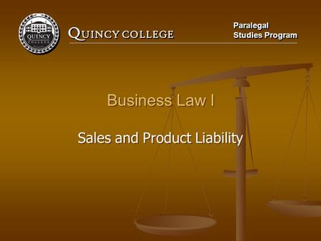 Sales and Product Liability