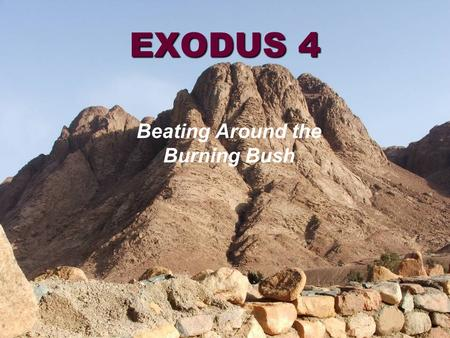 EXODUS 4 Beating Around the Burning Bush. Egypt Midian Sinai.