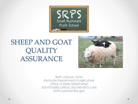 SHEEP AND GOAT QUALITY ASSURANCE Beth Johnson, DVM Kentucky Department of Agriculture Office of State Veterinarian 502-573-0282 (office) 502-545-6373 (cell)