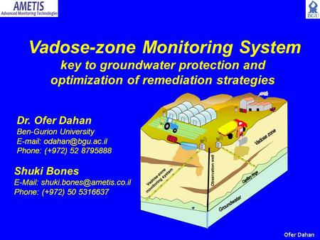 Vadose-zone Monitoring System key to groundwater protection and optimization of remediation strategies Dr. Ofer Dahan Ben-Gurion University