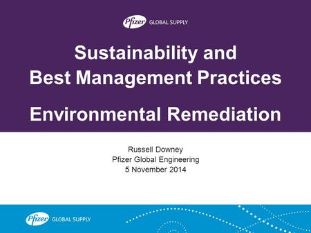Sustainability and Best Management Practices Environmental Remediation Russell Downey Pfizer Global Engineering 5 November 2014.