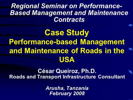 Roads and Transport Infrastructure Consultant