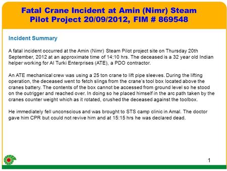 1 Incident Summary A fatal incident occurred at the Amin (Nimr) Steam Pilot project site on Thursday 20th September, 2012 at an approximate time of 14:10.