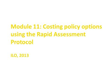 Module 11: Costing policy options using the Rapid Assessment Protocol ILO, 2013.