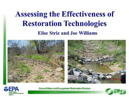 Ground Water and Ecosystems Restoration Division Assessing the Effectiveness of Restoration Technologies Elise Striz and Joe Williams.
