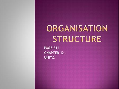 PAGE 211 CHAPTER 12 UNIT:2.  Organisational structure is the framework for identifying & organizing the tasks to be performed within an organisation.
