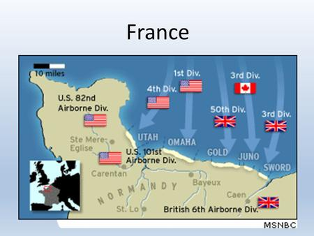 France. D-Day: The Invasion of Normandy On June 6, 1944 the Allied Forces of Britain, America, Canada, and France attacked German forces on the coast.