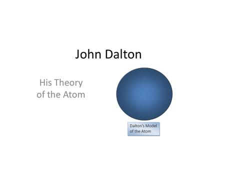 John Dalton His Theory of the Atom Dalton's Model of the Atom.