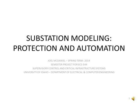 SUBSTATION MODELING: PROTECTION AND AUTOMATION