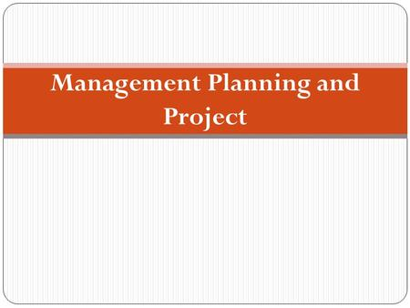 Management Planning and Project. CHAPTER OBJECTIVES  Review the essentials of planning for a data warehouse.  Distinguish between data warehouse projects.