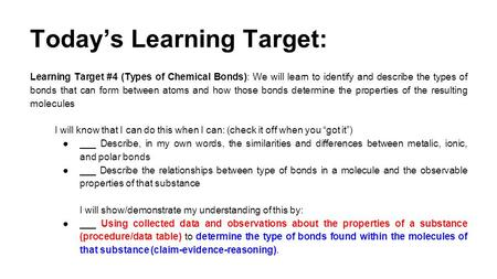 Today's Learning Target: Learning Target #4 (Types of Chemical Bonds): We will learn to identify and describe the types of bonds that can form between.
