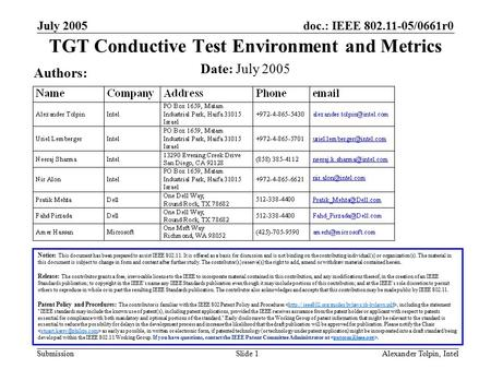 Doc.: IEEE 802.11-05/0661r0 Submission July 2005 Alexander Tolpin, IntelSlide 1 TGT Conductive Test Environment and Metrics Notice: This document has been.