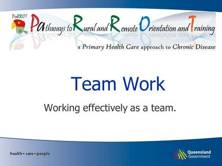 Team Work Working effectively as a team.. Learning Objectives Define Team Work Collaborative practice. Roles of the multidisciplinary team Effective team.