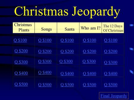 Christmas Jeopardy Christmas Plants Who am I? Songs Santa Q $100