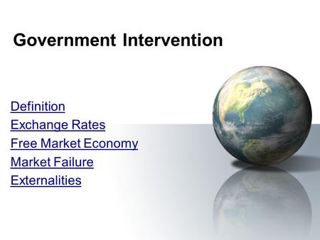 Essay government intervention market