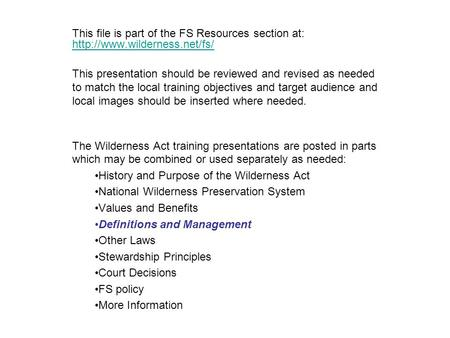 This file is part of the FS Resources section at:   This presentation should be reviewed and.