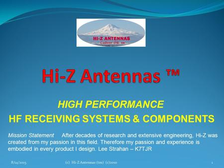 HIGH PERFORMANCE HF RECEIVING SYSTEMS & COMPONENTS