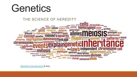 THE SCIENCE OF HEREDITY Genetics Genetics IntroductionGenetics Introduction 3 min.