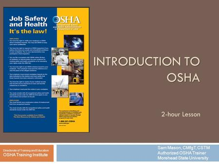 INTRODUCTION TO OSHA 2-hour Lesson