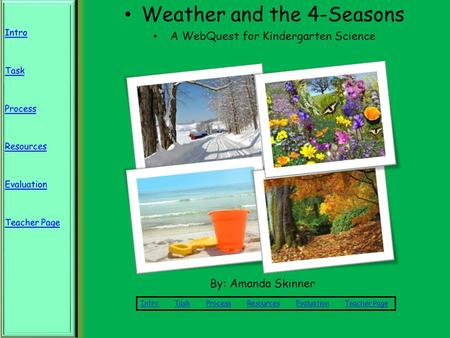 Weather and the 4-Seasons A WebQuest for Kindergarten Science Intro Intro Task Process Resources Evaluation Teacher PageTaskProcessResourcesEvaluationTeacher.