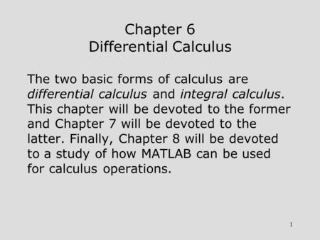Chapter 6 Differential Calculus