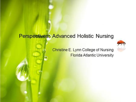 Perspectives: Advanced Holistic Nursing Christine E. Lynn College of Nursing Florida Atlantic University.