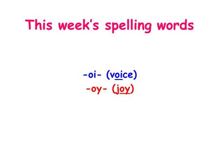 This week's spelling words -oi- (voice) -oy- (joy)