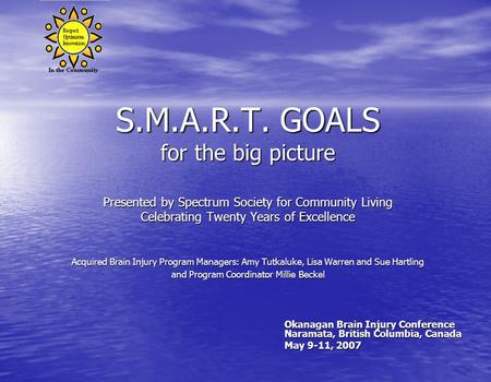 S.M.A.R.T. GOALS for the big picture Presented by Spectrum Society for Community Living Celebrating Twenty Years of Excellence Acquired Brain Injury Program.