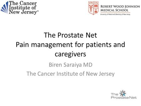 The Prostate Net Pain management for patients and caregivers Biren Saraiya MD The Cancer Institute of New Jersey.