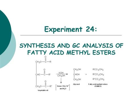 Experiment 24: SYNTHESIS AND GC ANALYSIS OF FATTY ACID METHYL ESTERS.