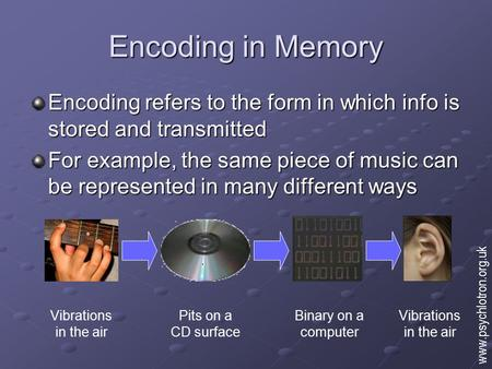 Encoding in Memory Encoding refers to the form in which info is stored and transmitted For example, the same piece of music can be represented in many.
