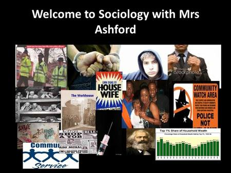 Welcome to Sociology with Mrs Ashford. Objectives: Who am I? Who are you? Induction work, textbook, blog www.stcmsoc.wordpress.com What is Sociology?