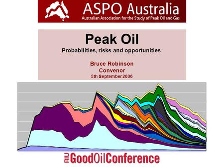 Peak Oil Probabilities, risks and opportunities Bruce Robinson Convenor 5th September 2006.