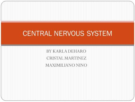 BY KARLA DEHARO CRISTAL MARTINEZ MAXIMILIANO NINO CENTRAL NERVOUS SYSTEM.