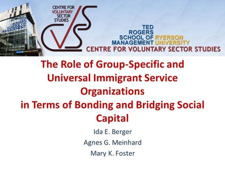The Role of Group-Specific and Universal Immigrant Service Organizations in Terms of Bonding and Bridging Social Capital Ida E. Berger Agnes G. Meinhard.