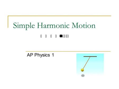 Simple Harmonic Motion AP Physics 1. Simple Harmonic Motion Back and forth motion that is caused by a force that is directly proportional to the displacement.