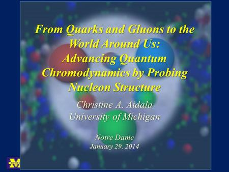 From Quarks and Gluons to the World Around Us: Advancing Quantum Chromodynamics by Probing Nucleon Structure Christine A. Aidala University of Michigan.