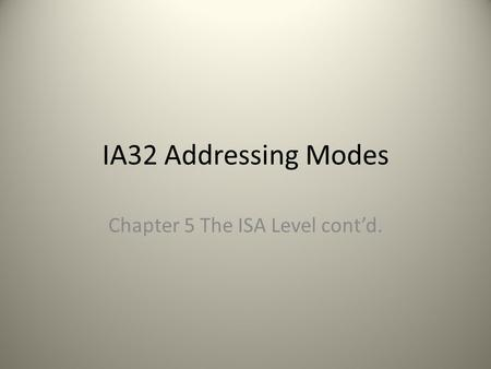 IA32 Addressing Modes Chapter 5 The ISA Level cont'd.