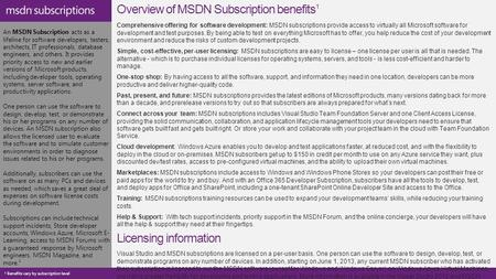 An MSDN Subscription acts as a lifeline for software developers, testers, architects, IT professionals, database engineers, and others. It provides priority.