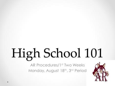High School 101 AR Procedures/1 st Two Weeks Monday, August 18 th, 3 rd Period.